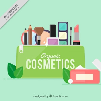 Fondo de productos de belleza en un estuche en diseño plano