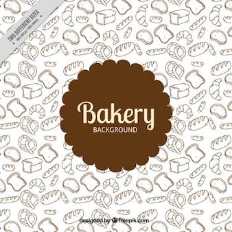 Fondo de productos de panadería dibujados a mano