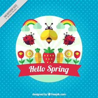 Fondo de puntos con insectos y flores