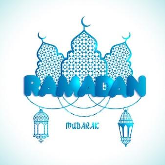 Fondo de ramadán azul brillante