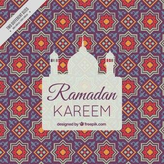 Fondo de ramadán con la silueta de una mezquita