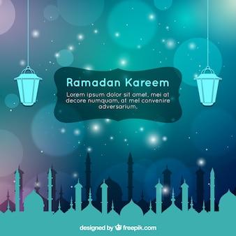 Fondo de ramadan con lámparas arábigas y paisaje de ciudad