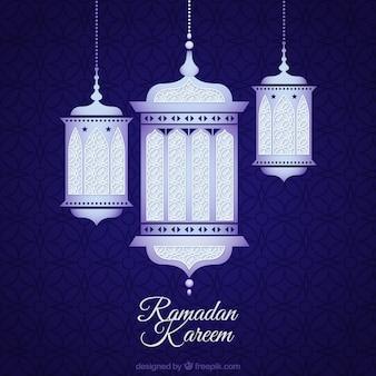 Fondo de ramadan con lámparas arábigas