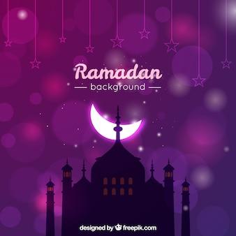 Fondo de ramadan con luna brillante