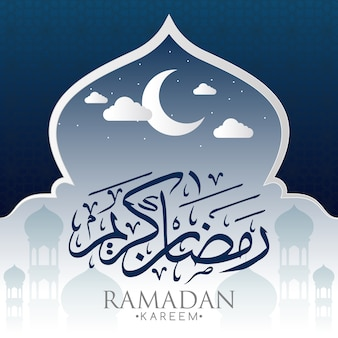 Fondo de ramadán con luna y mezquita