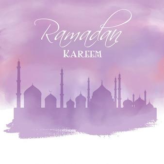 Fondo de ramadán con mezquita de acuarela morada