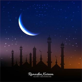 Fondo de ramadan con mezquita y luna