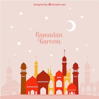 Fondo de ramadan con paisaje urbano