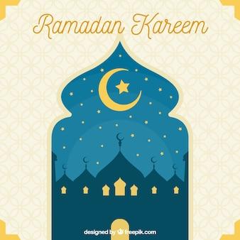 Fondo de ramadan con vista de ventana arábiga