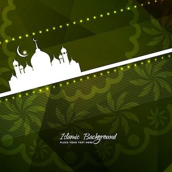 Fondo de ramadan de color verde con detalle floral
