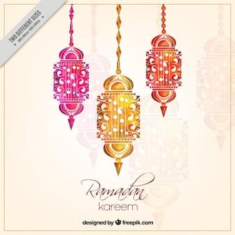 Fondo de ramadan de decoración de faroles de acuarela
