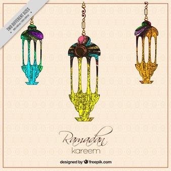 Fondo de ramadan de faroles artísticos