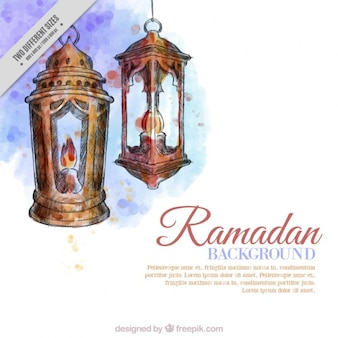 Fondo de ramadan de faroles de acuarela