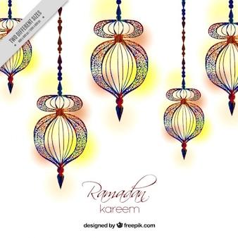 Fondo de ramadan de faroles pintados a mano