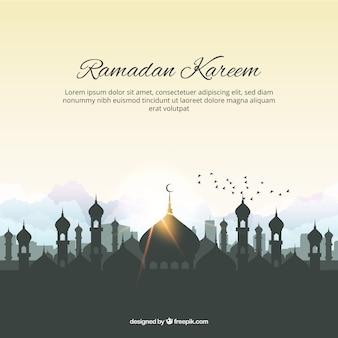 Fondo de ramadan kareem con mezquita y pájaros