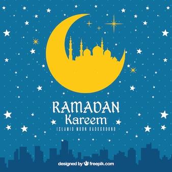 Fondo de ramadan kareem con siluetas de edificios y estrellas