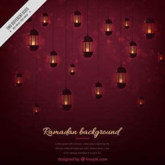 Fondo de ramadán rojo oscuro
