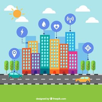 Fondo de rascacielos coloridos con carretera e iconos en diseño plano