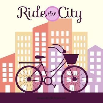 Fondo de rascacielos con silueta de bicicleta