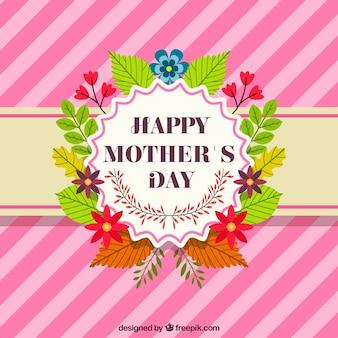 Fondo de rayas con flores de colores para el día de la madre