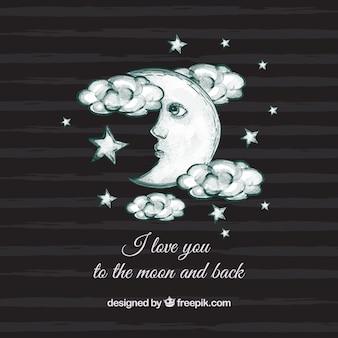 Fondo de rayas de la luna y nubes
