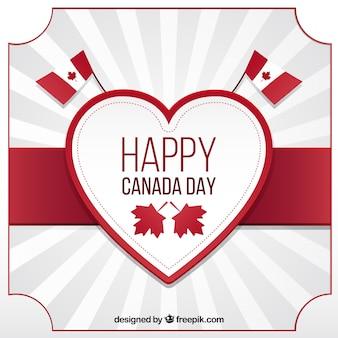 Fondo de rayos de sol con corazón decorativo para el día de canadá