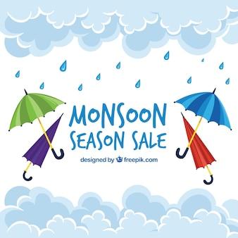 Fondo de rebajas de temporada de lluvias con paraguas