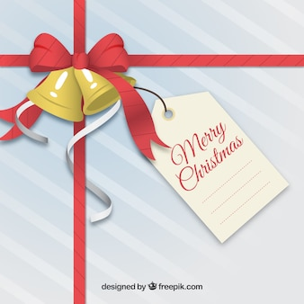 Fondo de regalo de navidad con etiqueta