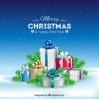 Fondo de regalos de navidad nevados