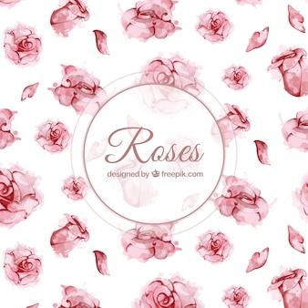 Fondo de rosas en estilo de acuarela