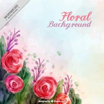 Fondo de rosas pintadas a mano y hojas