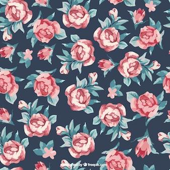 Fondo de rosas y hojas pintadas a mano