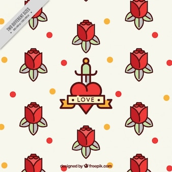 Fondo de rosas y puntos en diseño plano