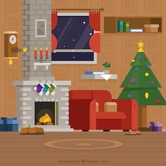 Fondo de salón con decoración navideña y chimenea