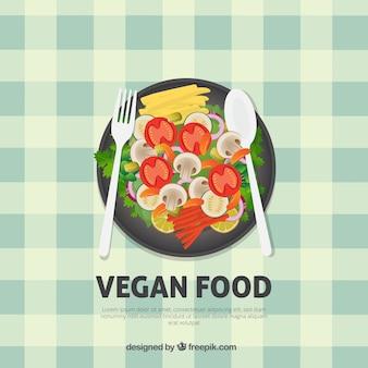 Fondo de saludable menú de comida vegana