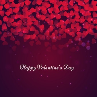 Fondo de San Valentín con corazones y estilo bokeh