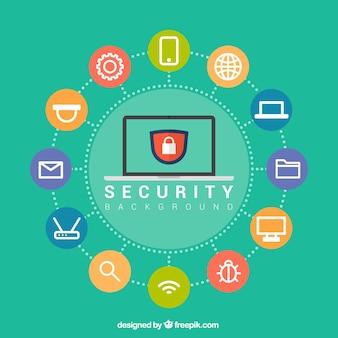 Fondo de seguridad con círculos de colores y elementos planos