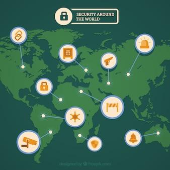 Fondo de seguridad con mapa del mundo verde y artículos naranjas