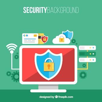 Fondo de seguridad con ordenador y otros elementos en diseño plano