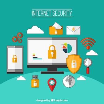 Fondo de seguridad en internet en diseño plano