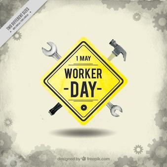Fondo de señal del día del trabajador con herramientas
