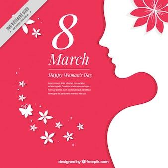 Fondo de silueta blanca de mujer con detalles florales