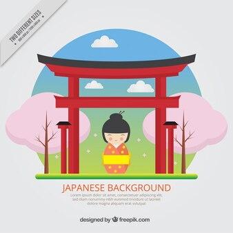 Fondo de simpática geisha con un templo