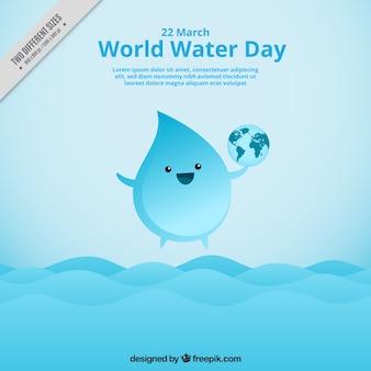 Fondo de simpática gota de agua con el mundo