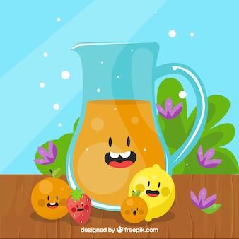 Fondo de simpática jarra de zumo con frutas