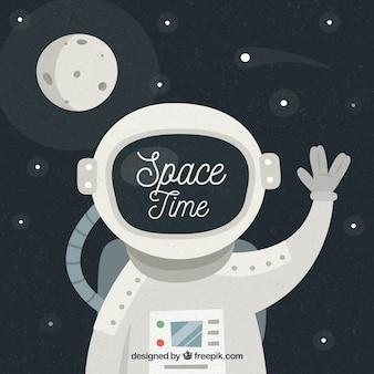Fondo de simpático astronauta y luna