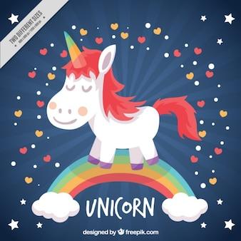 Fondo de simpático pequeño unicornio en el arcoiris