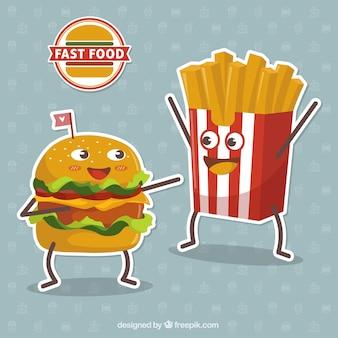Fondo de simpáticos personajes de comida