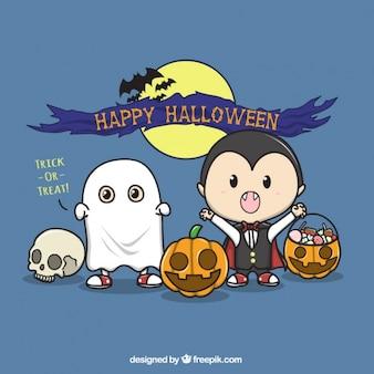 Fondo de simpáticos personajes de halloween dibujados a mano