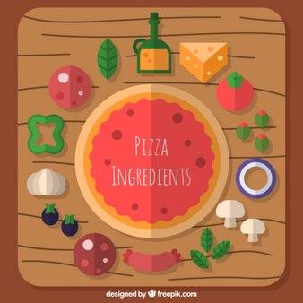 Fondo de tabla con ingredientes y pizza en diseño plano